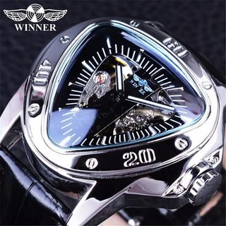Đồng hồ cơ nam Winner A516 mặt tam giác lộ máy độc đáo