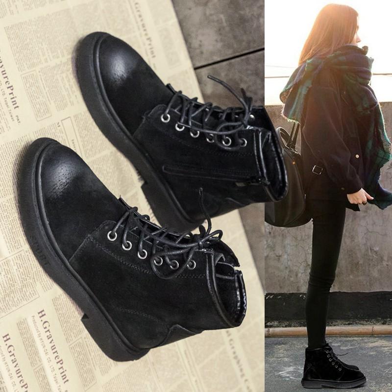 giày bốt da nữ cổ cao thời trang hàn 2018