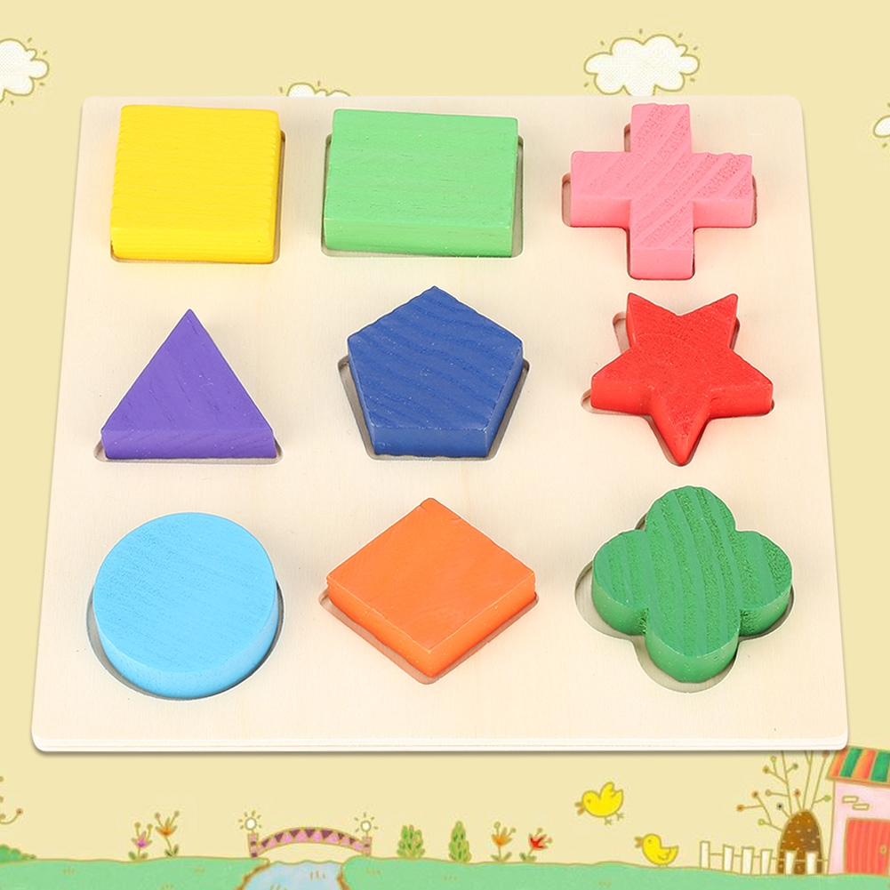 Shape Geometry Children Wooden Building Stacking Block Funny Early Toy Learning Puzzle Wooden