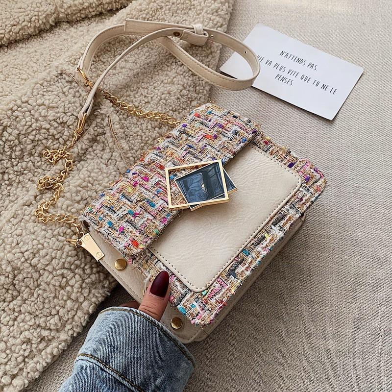 Túi Đeo Chéo Nắp Phối Vải Tweed Thời Trang Sang Trọng D1048