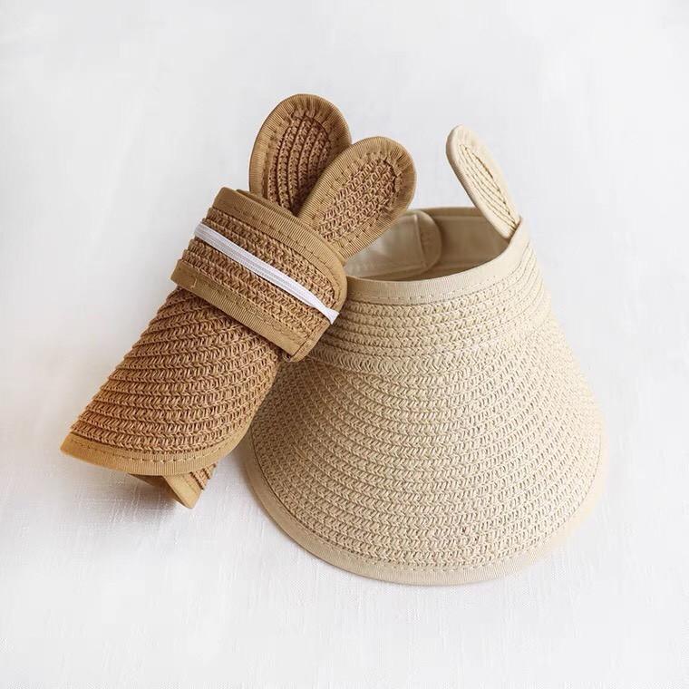 Mũ Cói Cho Bé - Mũ cói Tai Thỏ mùa hè không chóp cho bé từ 1-4 tuổi kiểu dáng Hàn Quốc dễ thương MC03