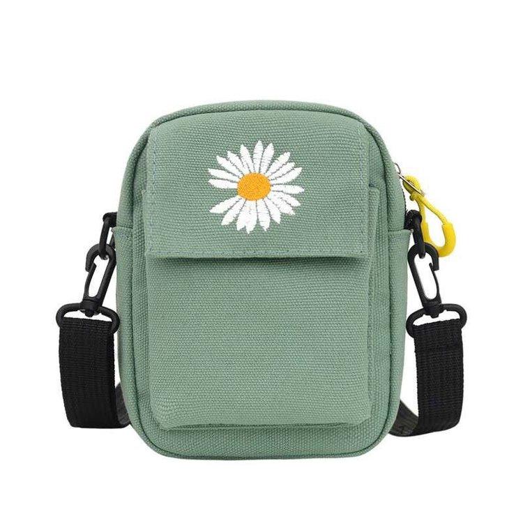 Túi đeo chéo canvas mini họa tiết hoa cúc cá tính cho nam và nữ