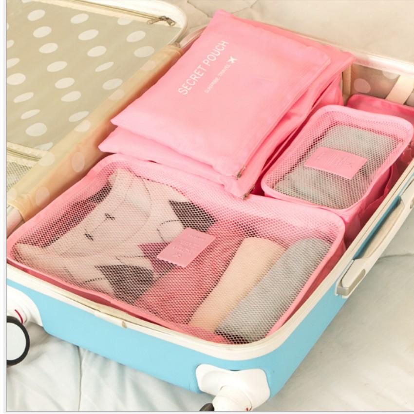 Bộ 6 món đựng đồ đi du lịch tiện ích chống thấm nước T10U7 2 (hồng) tặng móc treo chìa khóa da thật M 550