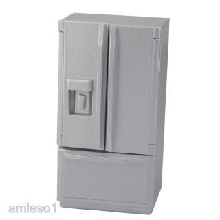 Fashion Silver Fridge Refrigerator 1/12 Dolls House Miniature Furniture Accs