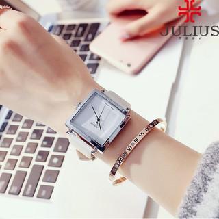 Đồng hồ nữ dây da Julius mặt vuông Ja-354