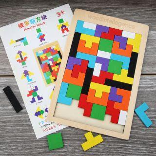 Đồ chơi xếp hình tetris sắc màu bằng gỗ cho bé