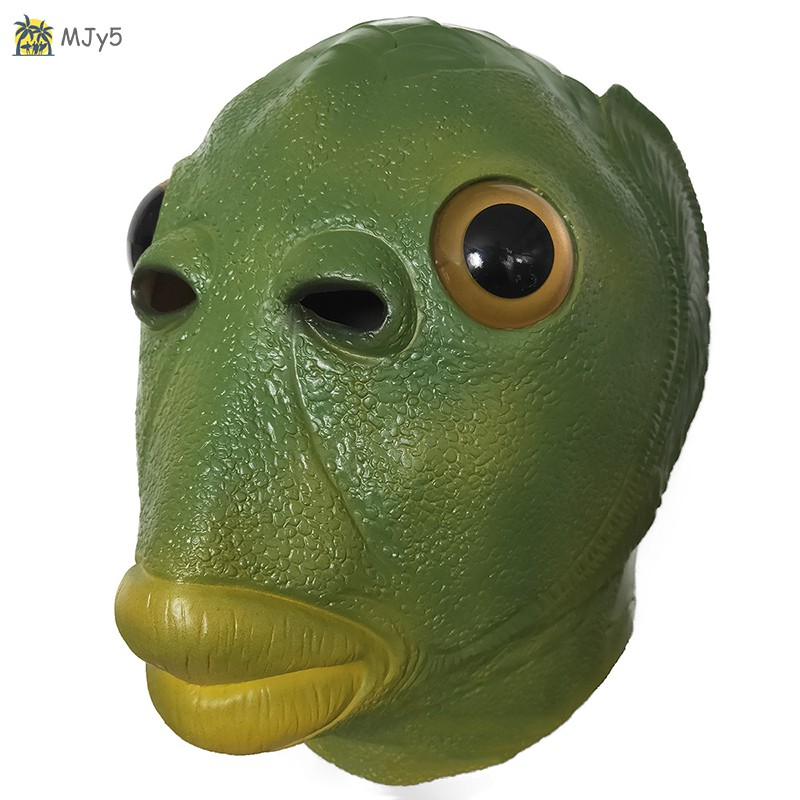 MJy5 Creepy Party Halloween Costume Party Latex Headgear Carp Face Cover Horror Green Fish Face Cover