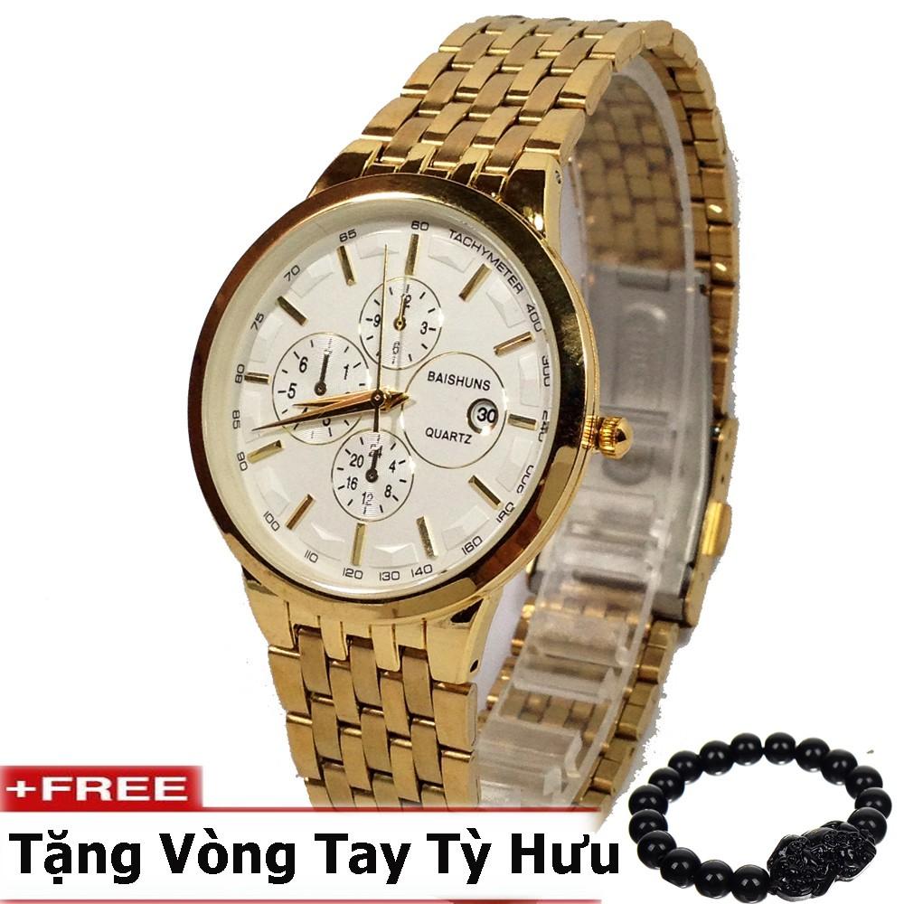 Đồng hồ nam BAISHUNS dây thép cao cấp không gỉ (Mặt trắng) + tặng kèm vòng tay tỳ hưu phong thủy