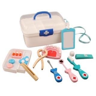 Children Pretend Play Dentist Toys Kids Wooden Kit Simulation Medicine Chest Set for Kids Interest Development Kits