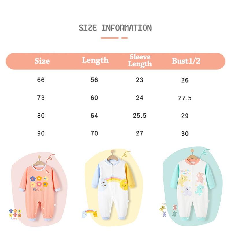 Luckycandy Áo Liền Quần Tay Dài Vải Cotton Dành Cho Bé Sơ Sinh 0-24 Tháng