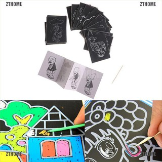 ZTHOME 1pack 8Sheets Kids Painting Scratch Paper Colorful Magic Art With Drawing Stick