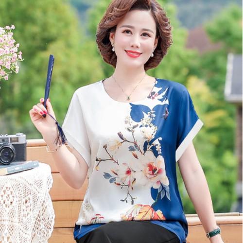 Đồ bộ trung niên đẹp trẻ trung sang trọng và lịch sự, ống rộng chất liệu lụa in 3D mềm mại - Anquach