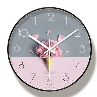 (HÀNG LOẠI I) Đồng hồ treo tường kim trôi Kem Hoa Hồng- Loại 30cm - Tặng kèm pin và móc treo