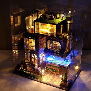 Mô hình gỗ nhà búp bê Impression Manhattan có mica+keo+cót nhạc+dụng cụ