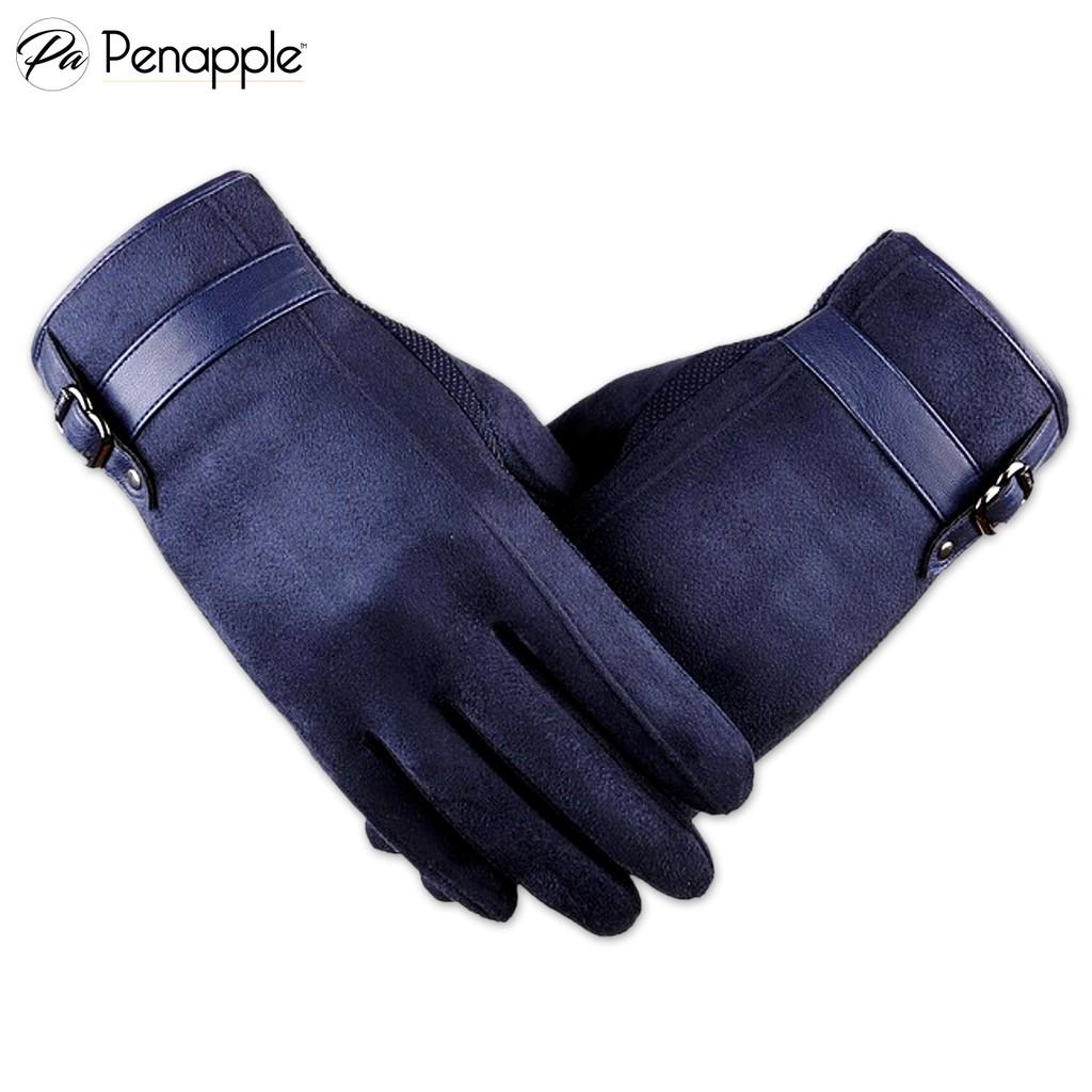 Găng tay da lộn cảm ứng PENAPPLE nam màu xanh dương