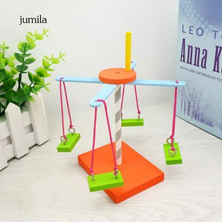 JL_DIY Wooden Rotary Spinning Stand Model Scientific Experiement Education Kids Toy