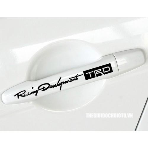 Sticker decal phản quang TRD cho tay nắm cửa xe hơi – set 4 cái