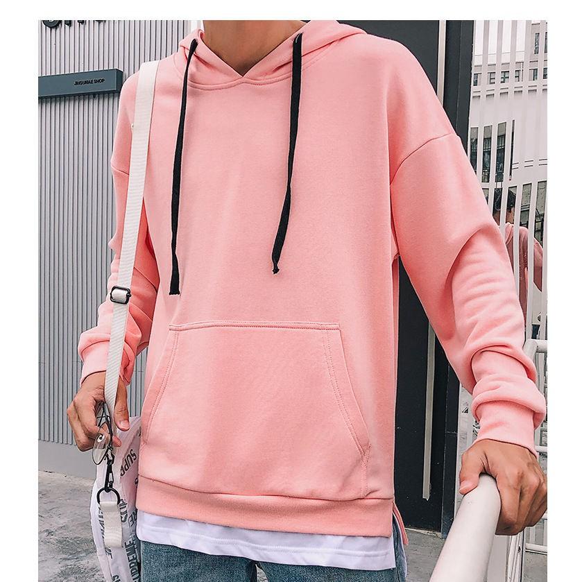 Áo hoodie hồng xẻ tà Fox unisex