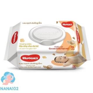 Khăn giấy ướt huggies dành cho trẻ sơ sinh 64 miếng dịu nhẹ, 72 miếng cacao và bơ hạt mỡ