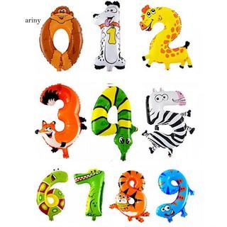 ♞Cute Animal Number Foil Balloons Kids Party Birthday Wedding Decor Ballon Gift