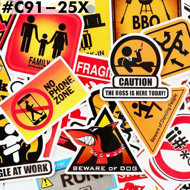 [BIỂN CẢNH BÁO] Sticker chống nước/Hình dán/Decal dán laptop vali xe mũ bảo hiểm nhà cửa ...