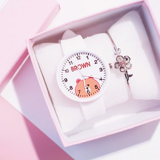 (Giá Sỉ) Đồng Hồ Thời Trang Nữ Candycat C03 Dây Silicone Hình Gấu Brown Nâu Cute (Bảo Hành 6 Tháng)