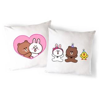 Vỏ Gối gấu brown thỏ cony vịt sally VGI4 gối ôm Gối Tựa lưng Sofa Gối vuông Gối Trang Trí vải canvas 45x45cm