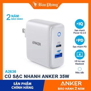 Củ Sạc Nhanh 35W ANKER A2636 2 Cổng PD 20W + USB-A QC3.0 15W PowerIQ Cho i-Phone 12 ip Pro 11 XS mã 8 8p S10 S20 cốc cóc thumbnail