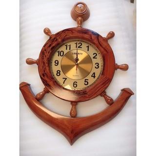 Đồng hồ mỏ neo bằng gỗ gõ mặt gỗ cẩm 60x80cm