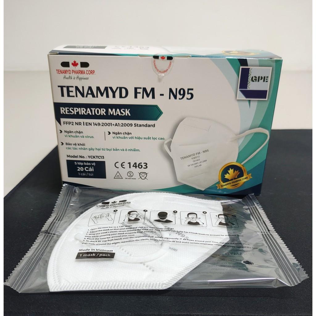 Khẩu trang N95 năm (5) lớp TENAMYD (N95 five layers respirator mask) (hộp 20 cái)-Chứng nhận FDA-