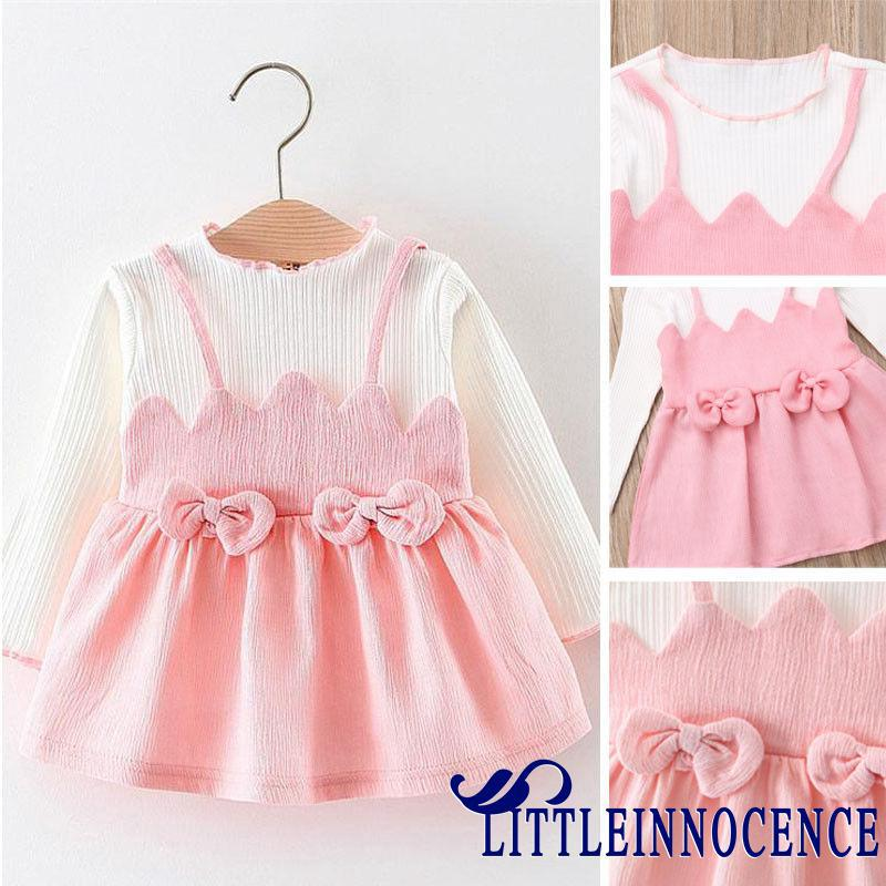 XZQ-Toddler Kid Baby Girl Pink Long Sleeve Bowknot Princess Dress Skirt Party Outfits
