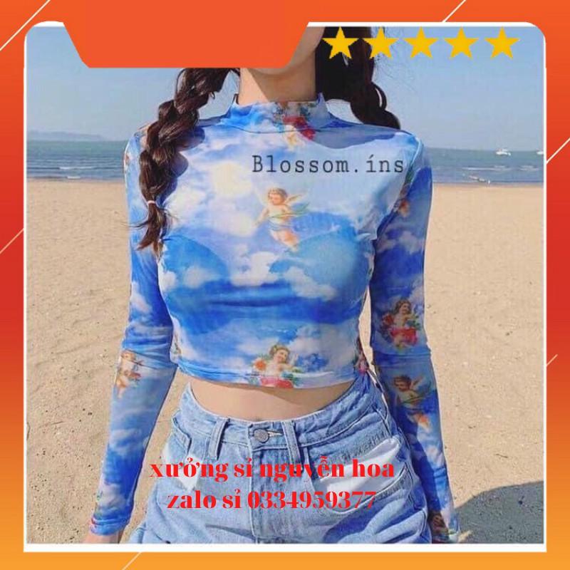 Áo Croptop Angel thiên thần xanh ( ảnh thật) Xưởng sỉ nguyễn hoa