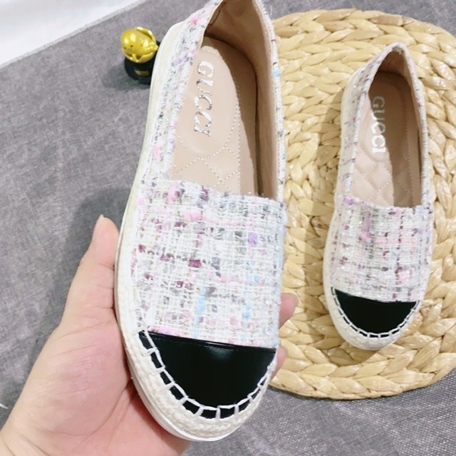 Giày slip on nữ, Giày lười nữ dạ caro trơn đế bệt dễ đi thời thượng