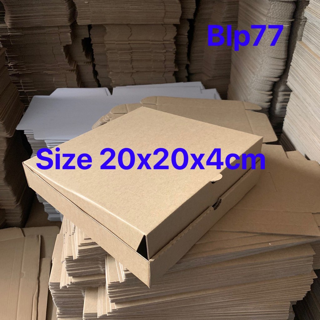 Hộp giấy đựng bánh pizza size 20x20x4cm