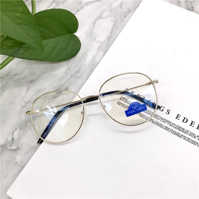 cute Quality replaceable lens korean round anti radiation eyeglass Anti-blue light Fashion all-match Women Accessories Free blue light test light...