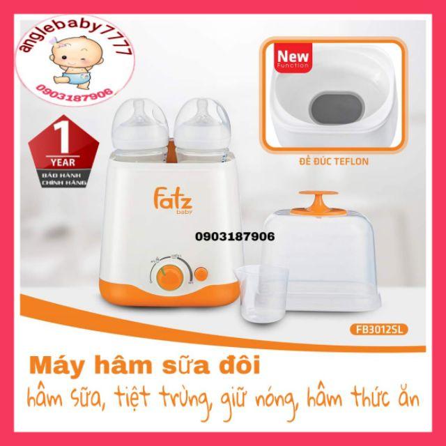 [Nhập ANGLE5 giảm 3k] [BH 12TH] (CHÍNH HÃNG) Máy hâm sữa đa năng 2 bình cổ rộng fatzbaby fb3012sl thế h