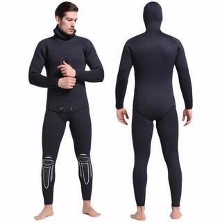 Bộ Lặn Nam Giữ Nhiệt Liền Thân Có Mũ Dày 6mm Wetsuit Sbart Đen