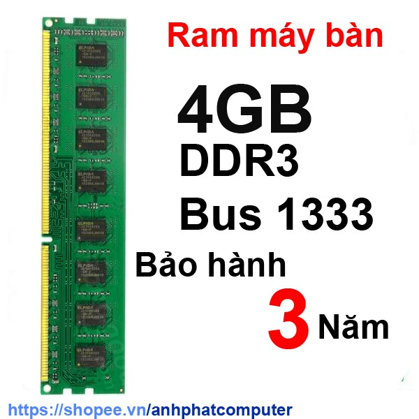 Ram 4GB DDR3 máy tính bàn