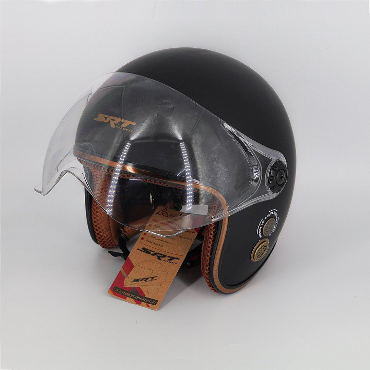 Mũ bảo hiểm 3/4 có kính SRT - viền đồng - thông gió thoáng khí