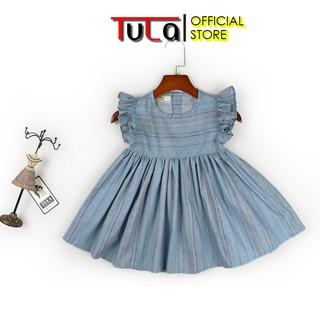 Váy Đầm Bé Gái Vai Xòe Đáng Yêu Vải Thô Hàn Quốc