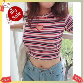🌈𝔸̉𝕟𝕙 𝕤𝕙𝕠𝕡 𝕥𝕦̛̣ 𝕔𝕙𝕦̣𝕡🌈- Áo croptop nữ sọc màu khoét tim siêu xinh/ áo thun nữ/ áo nữ/ croptop/ áo kiểu nữ