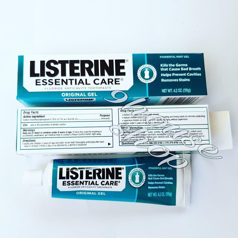 Kem đánh răng Listerine Essential Care Original Gel 119g