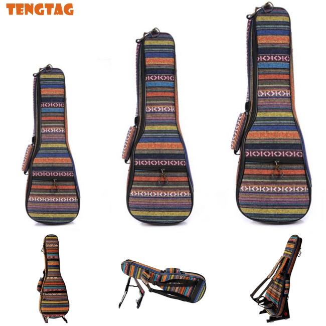21/23/26 Ethnic Knitting Style Ukulele Bag Backpack Double Shoulder Strap Cotton Padded Ukelele
