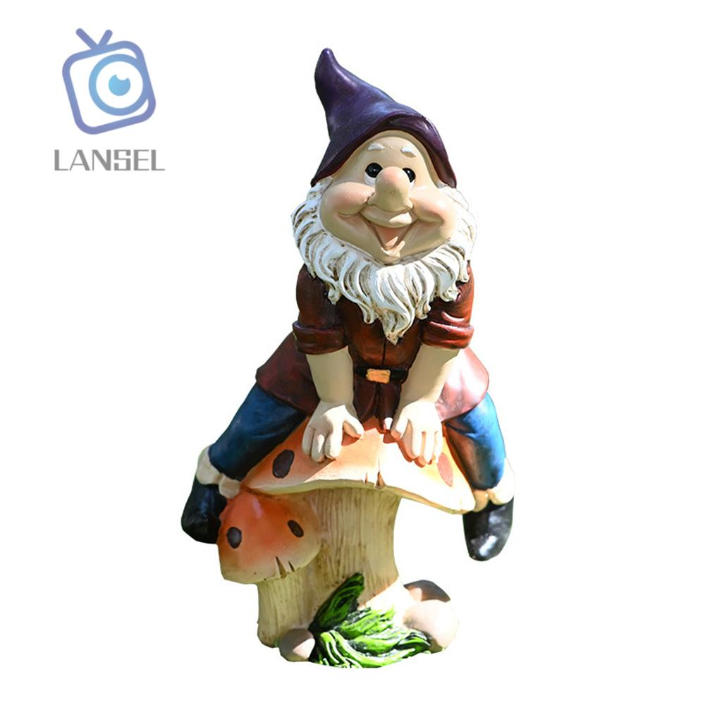 ❤LANSEL❤ Funny Gnome Statue Garden Lawn Figurine Dwarf Ornament Resin Outdoor Courtyard Cartoon Decoration Sculpture