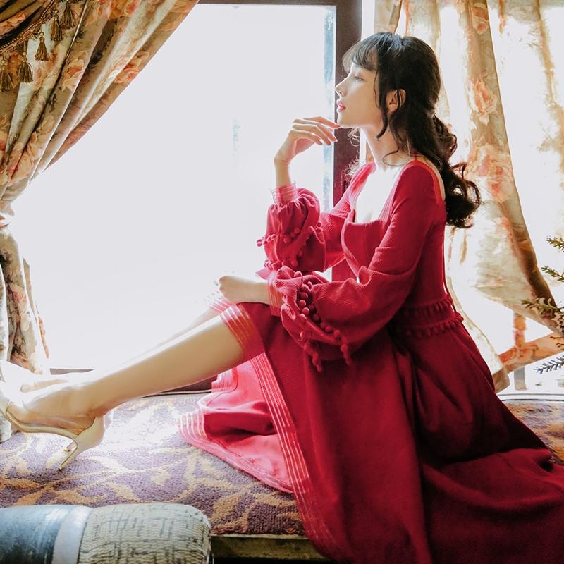 2757684437 - đầm nữ dài tay cổ tròn xếp ly thời trang