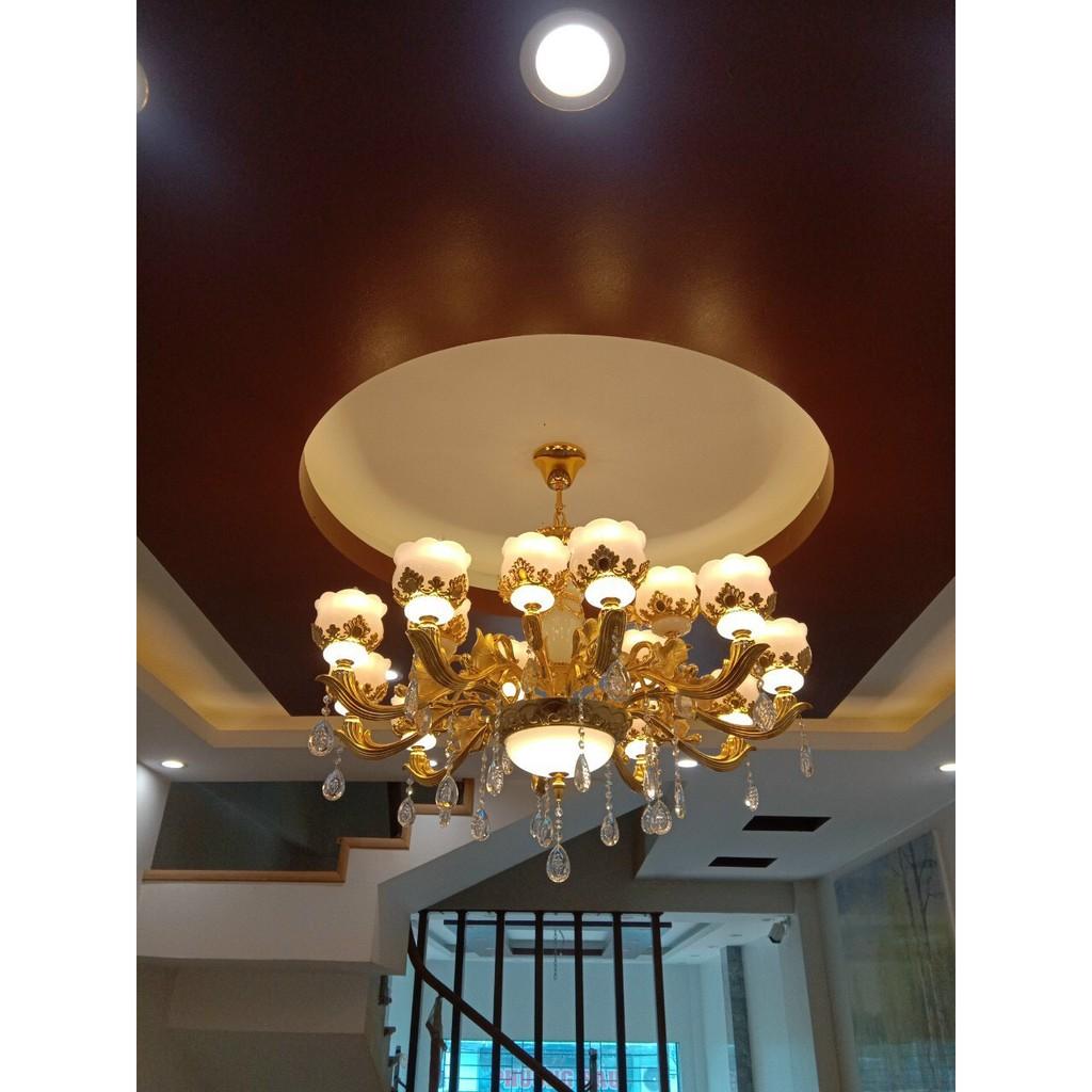 Đèn chùm - đèn trần trang trí nội thất sang trọng 15 tay- kèm bóng Led chuyên dụng 3 chế độ màu