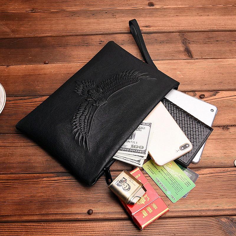 Túi xách cầm tay bằng da mềm in họa tiết đại bàng cho nam