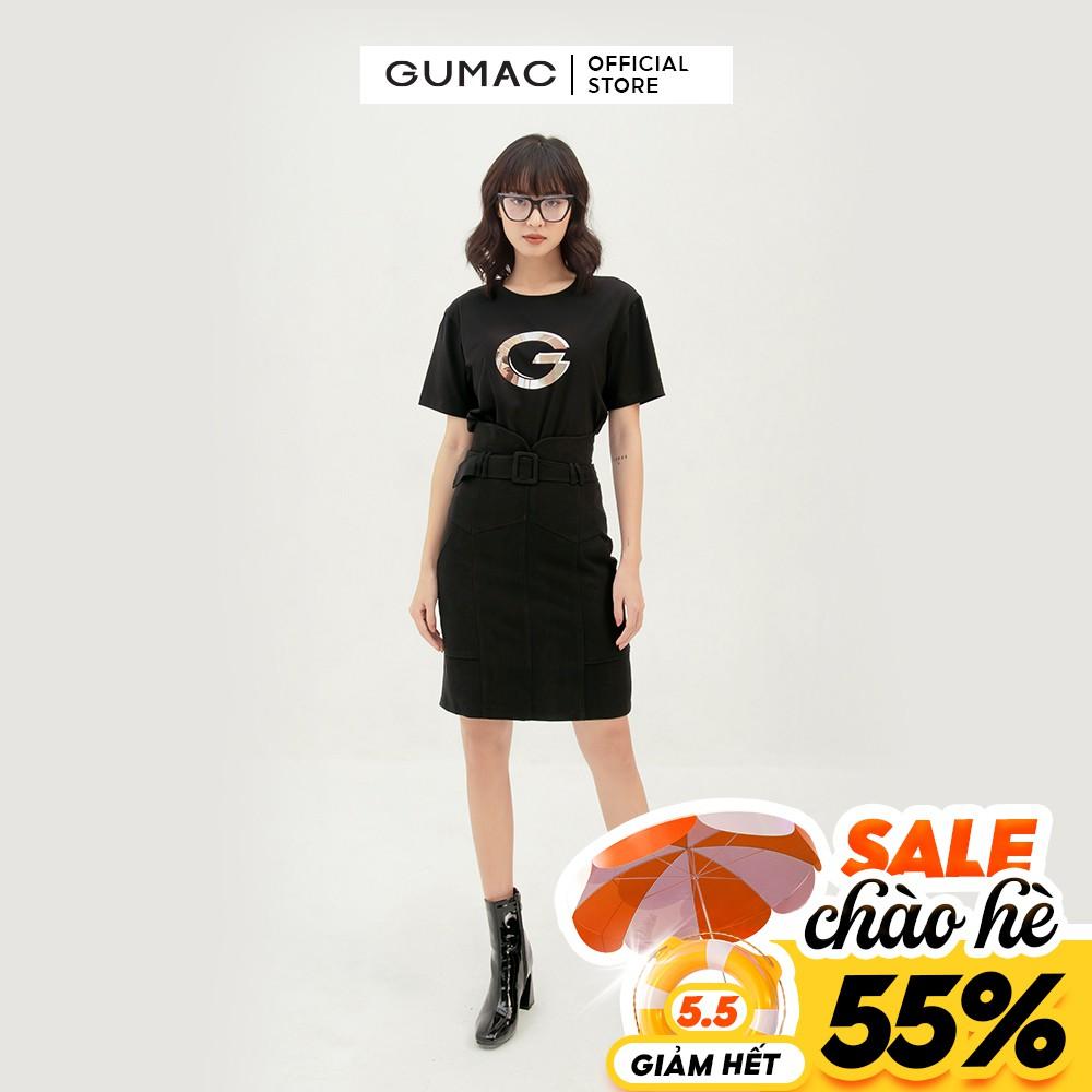 [Mã WABRGU55 giảm 15% đơn 149K] Chân váy suông nữ phối đai lưng GUMAC dáng chữ A basic nhiều màu VB390