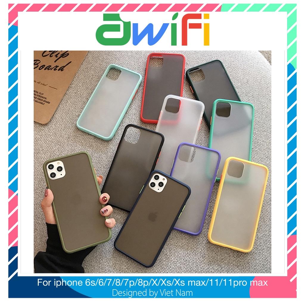 Ốp iphone - Ốp lưng nhám mặt mờ viền màu 6/6s/6plus/6splus/7/8/7plus/8plus/x/xs/xs max/11/11promax - Awifi Case D2-4