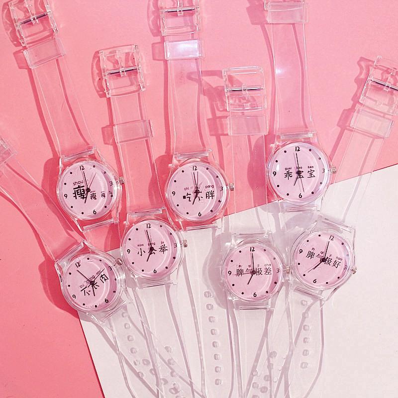 Đồng hồ kim dây silicon thiết kế đơn giản phong cách Hàn Quốc cho nữ
